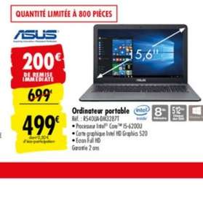 """PC Portable 15.6"""" Asus R540UA-DM3287T - Full HD, i5-6200U , 8 Go RAM, 512 Go SSD, Windows 10"""