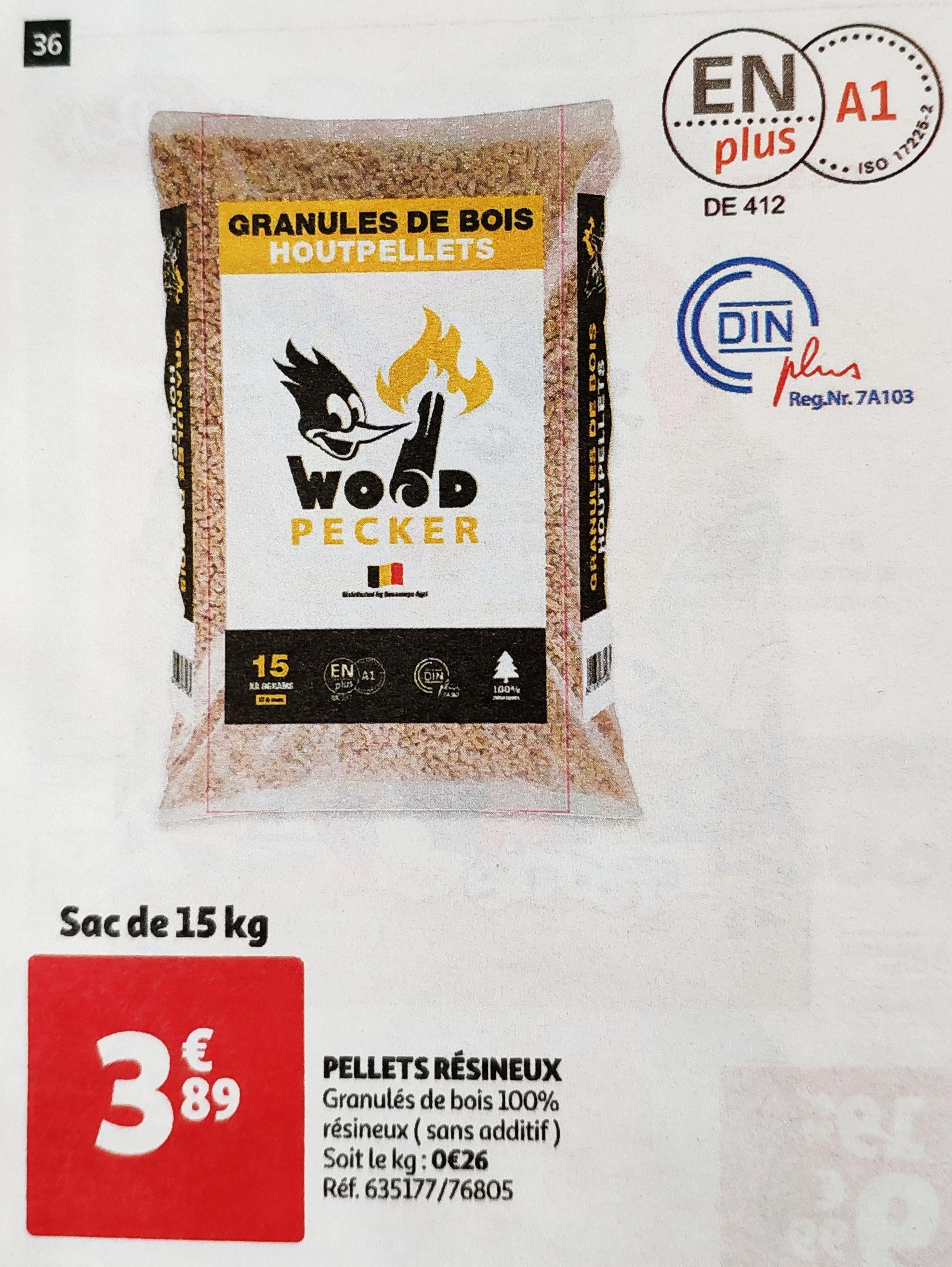 Sac de Granulés de bois pellets Wood Pecker - 15 Kg