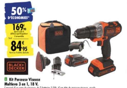 Kit Perceuse Viseuse sans fil Black & Decker Multievo 3 en 1 - Tête Scie-sauteuse + Ponceuse + 2 batteries 1.5Ah (Via 84.95€ carte fidélité)