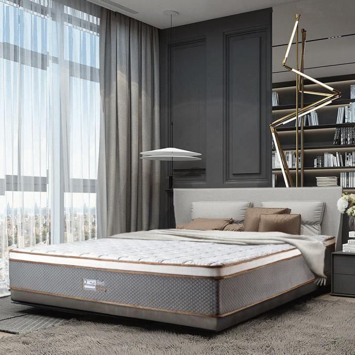 Matelas Latex en Ressorts Ensaches avec Design, 7 Zones de Confort - 140x190cm, 26cm