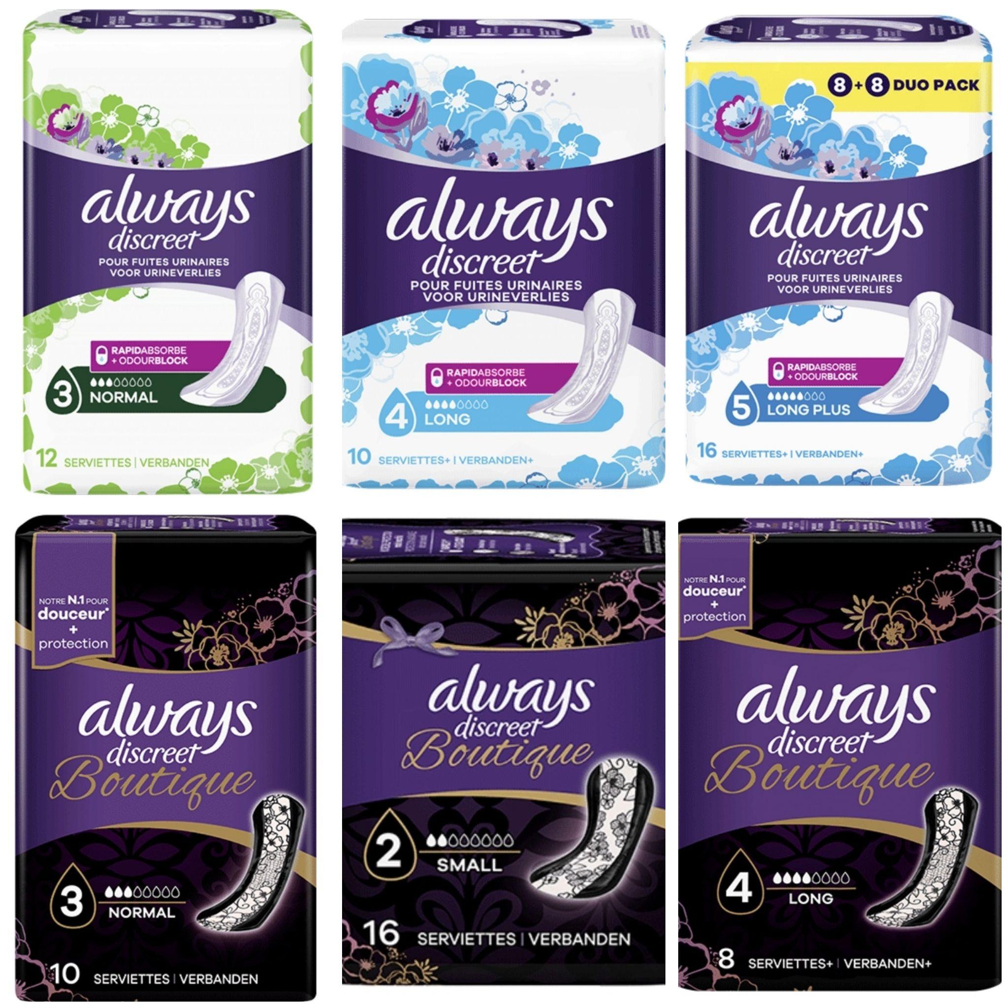 Lot de 2 paquets de serviettes incontinence Always Discreet - différents formats (via ODR + BDR)