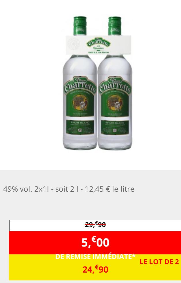 2 Bouteilles de Rhum blanc traditionnel Charrette - 2 x 1L