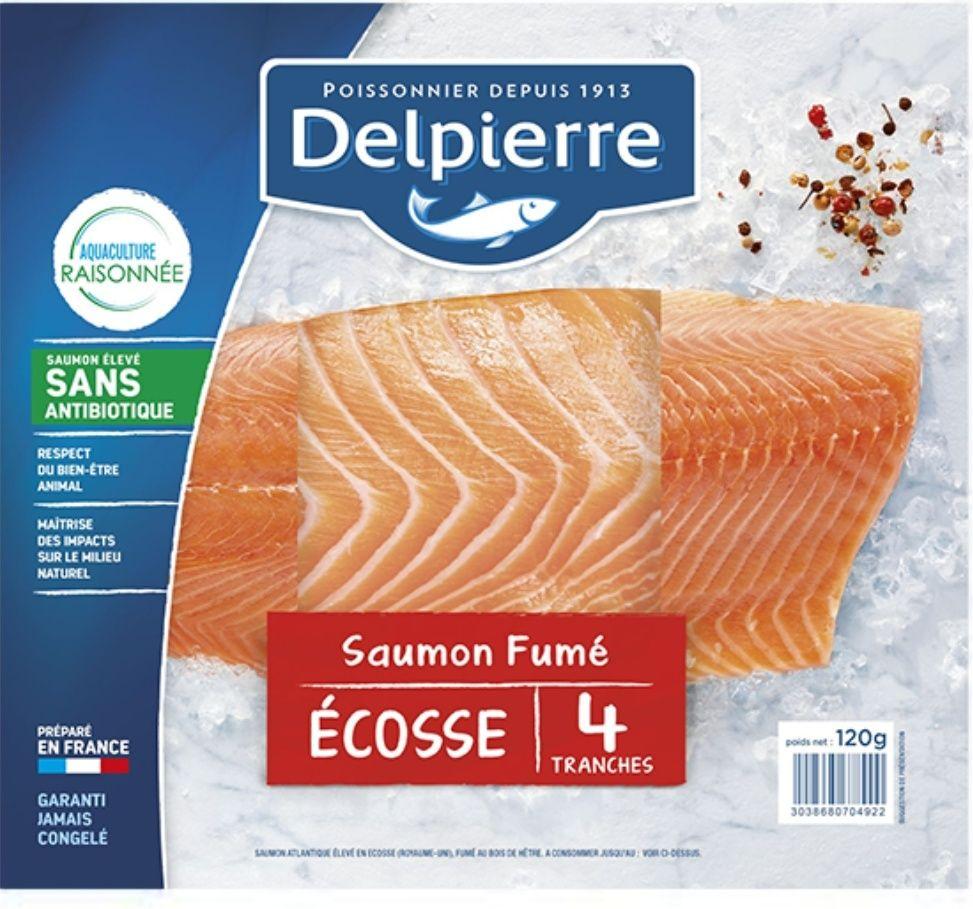 Saumon fumé Delpierre 4 tranches - 120g (via 1,81€ sur la carte fidélité + BDR)