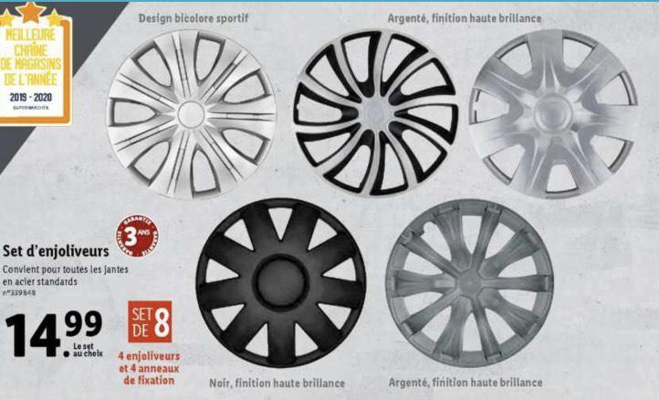 Sélection d'articles en promotion - Ex : set de 4 enjoliveurs pour jantes acier standards - différents modèles