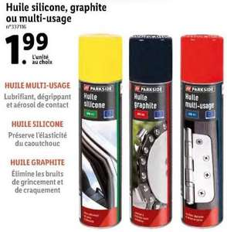 Spray Huile silicone, graphite ou multi-usage Parkside