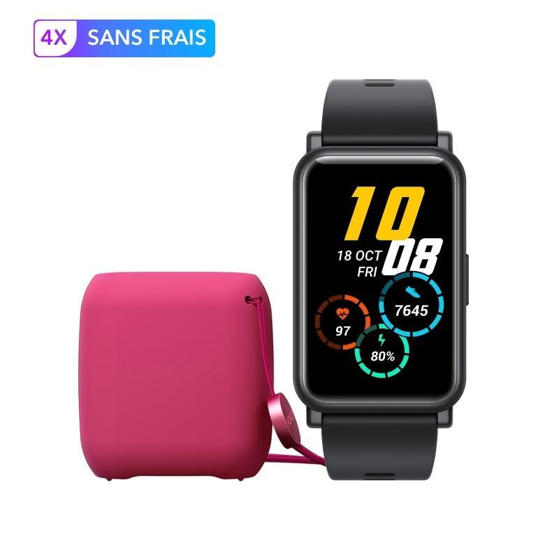 """Montre connectée Honor Watch ES (Ecran AMOLED 1.64"""", Autonomie 10 jours, 5 ATM, Fréquence cardiaque) + Ecouteurs Bluetooth Rouge offerts"""
