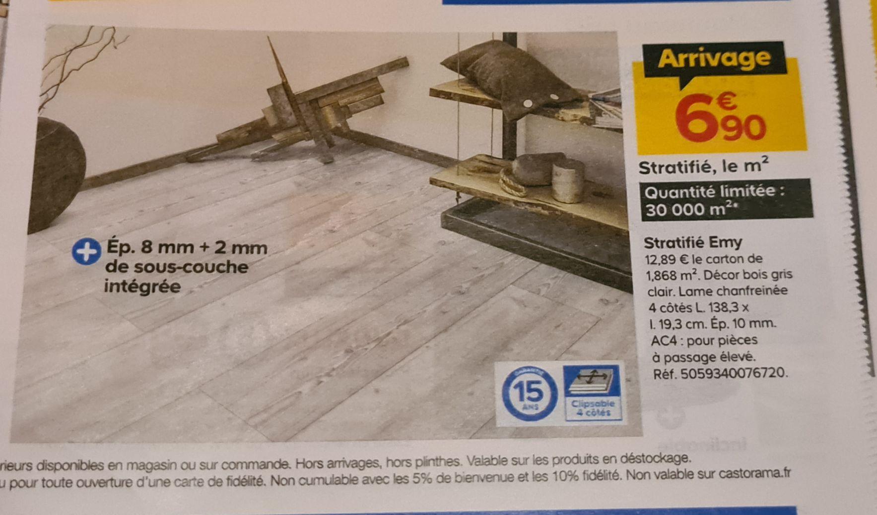 m² de sol stratifié bois gris - 10mm, , Garantie 15 ans