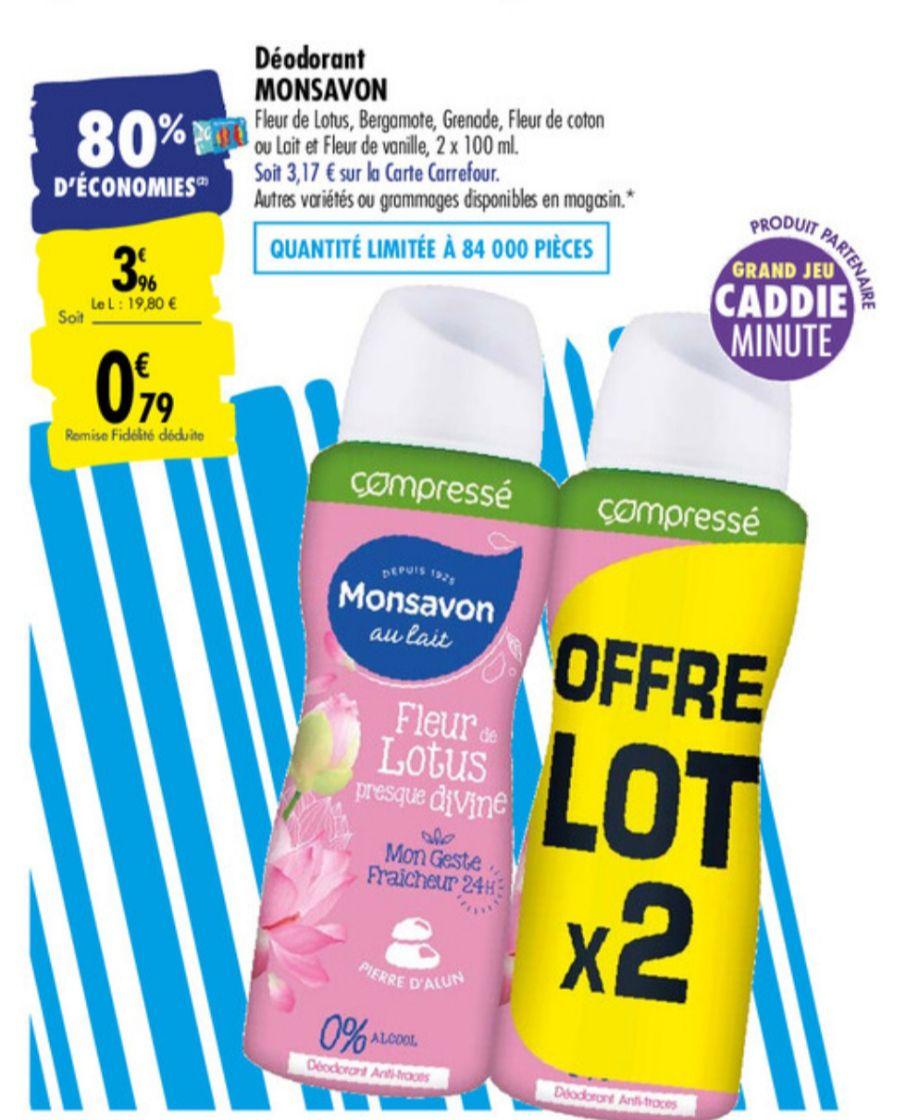 Lot de 2 Déodorants compressés MonSavon - différents parfums (via 3.17€ sur la carte de fidélité)