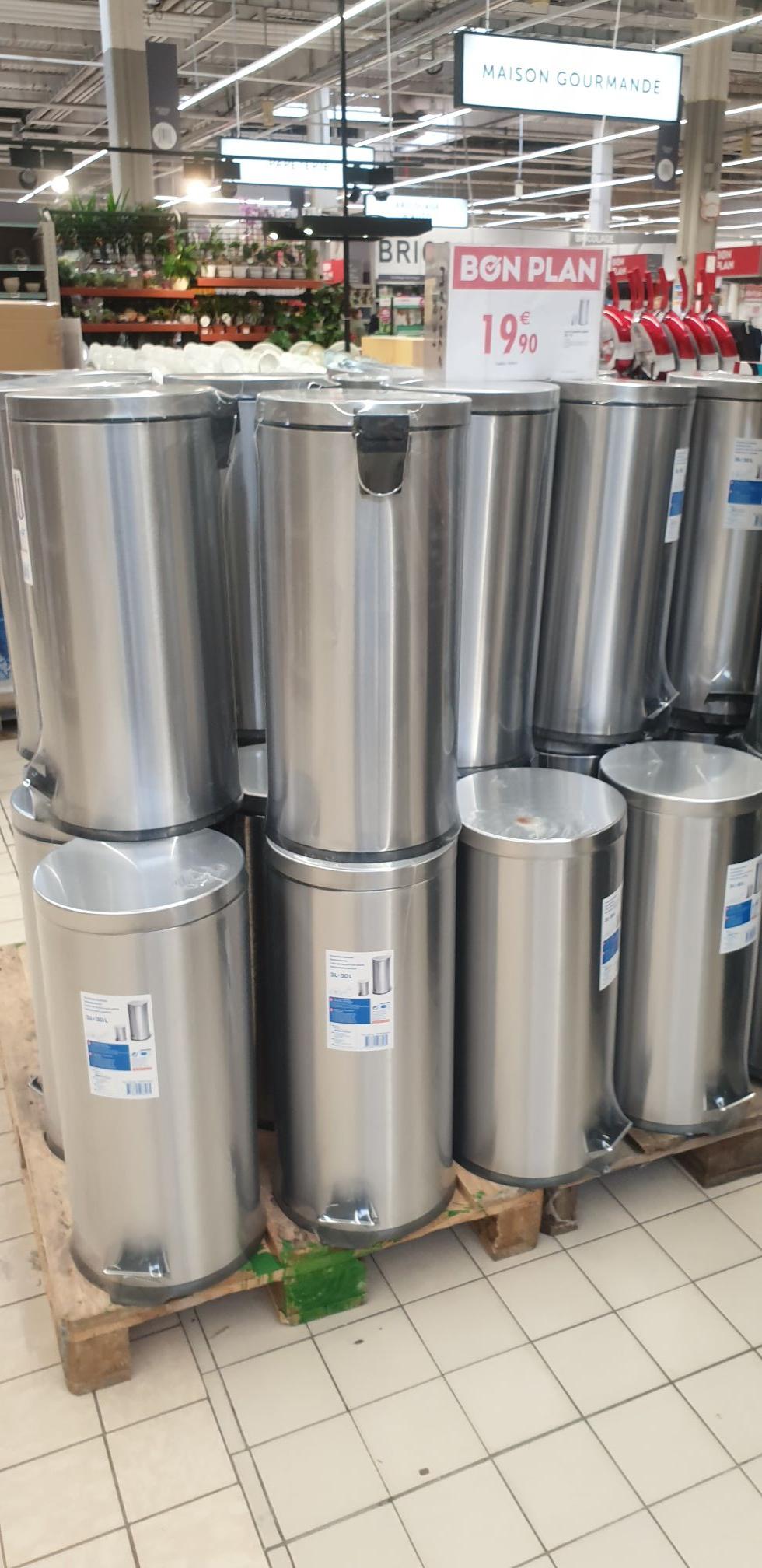 Lot de 2 poubelles à pédale en inox (30L + 3L) - Aulnay-Sous-Bois (93)