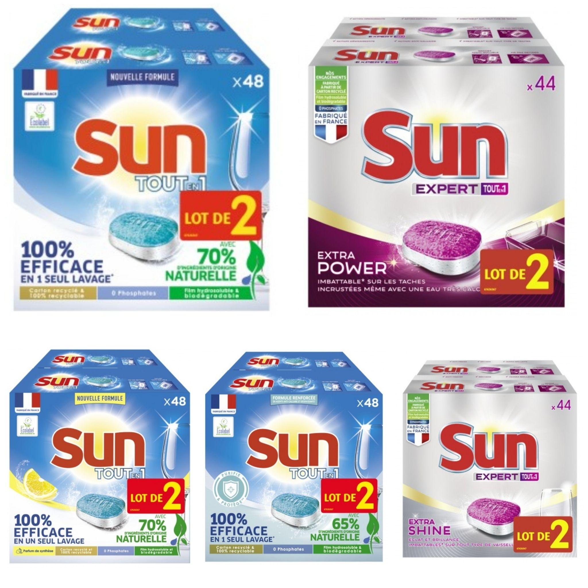 Tablettes Lave vaisselle tout en un Sun - Différentes variétés (Via 11,54€ sur Carte fidélité)