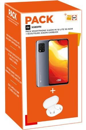 "Pack smartphone 6.57"" Xiaomi Mi 10 Lite (full HD, SnapDragon 765G, 6 Go de RAM, 128 Go, noir) + écouteurs Xiaomi Earbuds"
