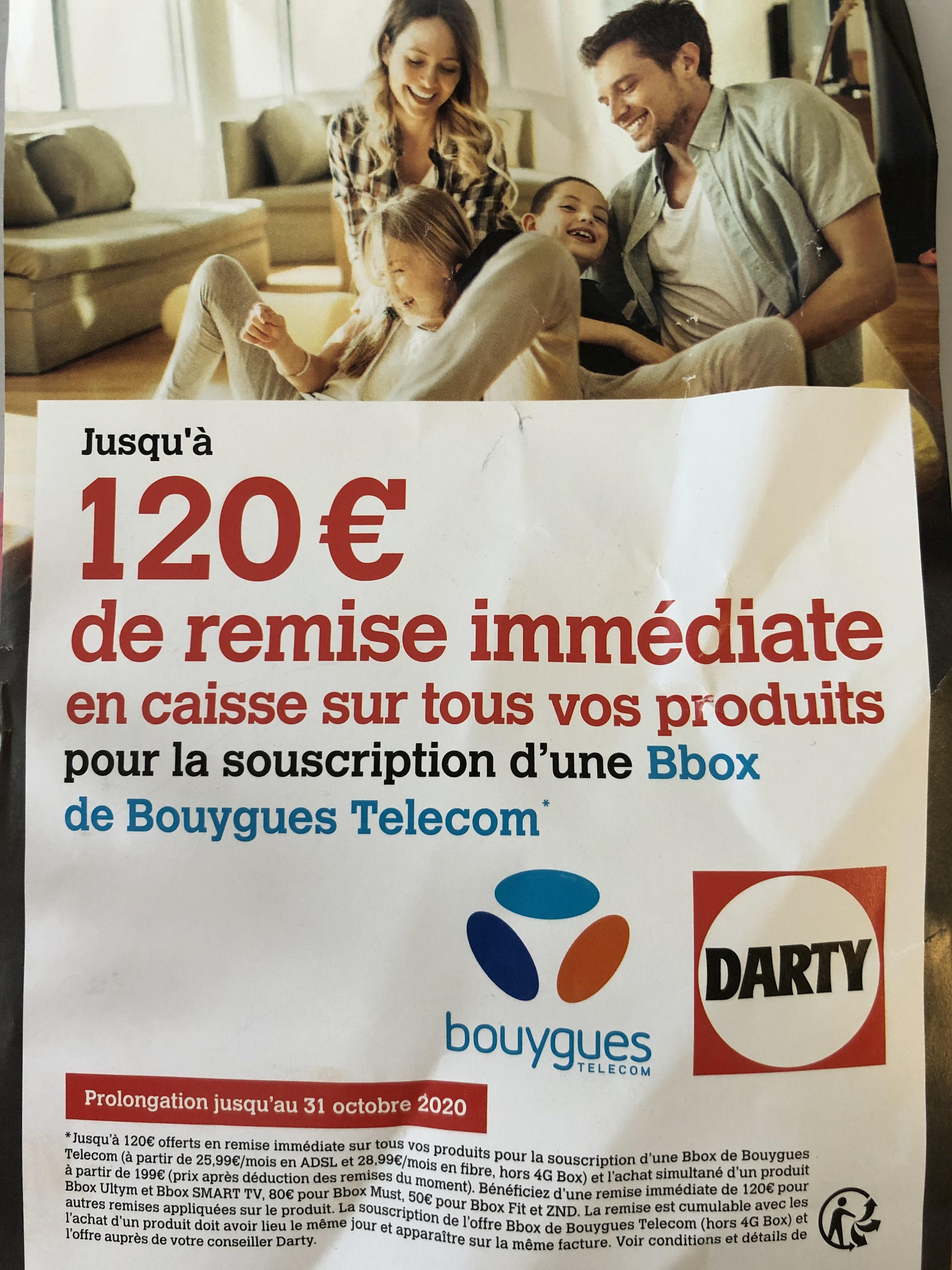 De 50 à 120€ de réduction sur 1 produit à partir de 199€ pour la souscription à un abonnement Bouygues Telecom Bbox (en fonction de l'offre)