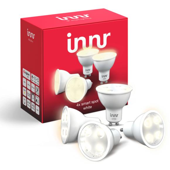 Pack de 4 ampoules LED connectées Innr compatible Hue - GU10, zigbee 3.0