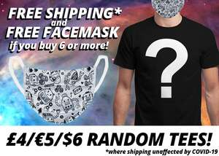 1 tee-shirt Qwertee aléatoire (+ livraison gratuite & 1 masque en tissu offert dès 6 tee-shirts achetés)