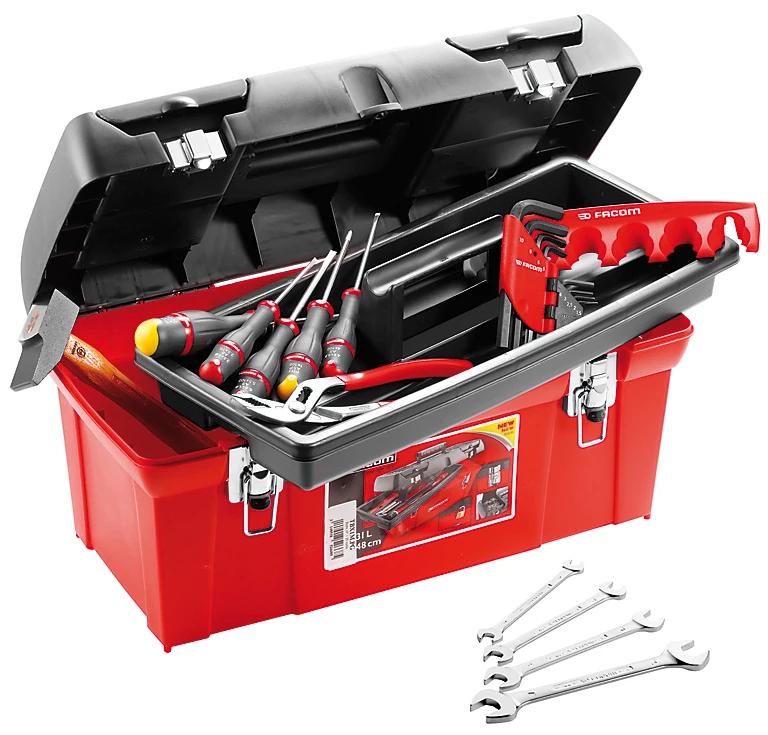 Caisse à outils polypropylène Facom + 20 outils (Marteau, pince, clés, tournevis)