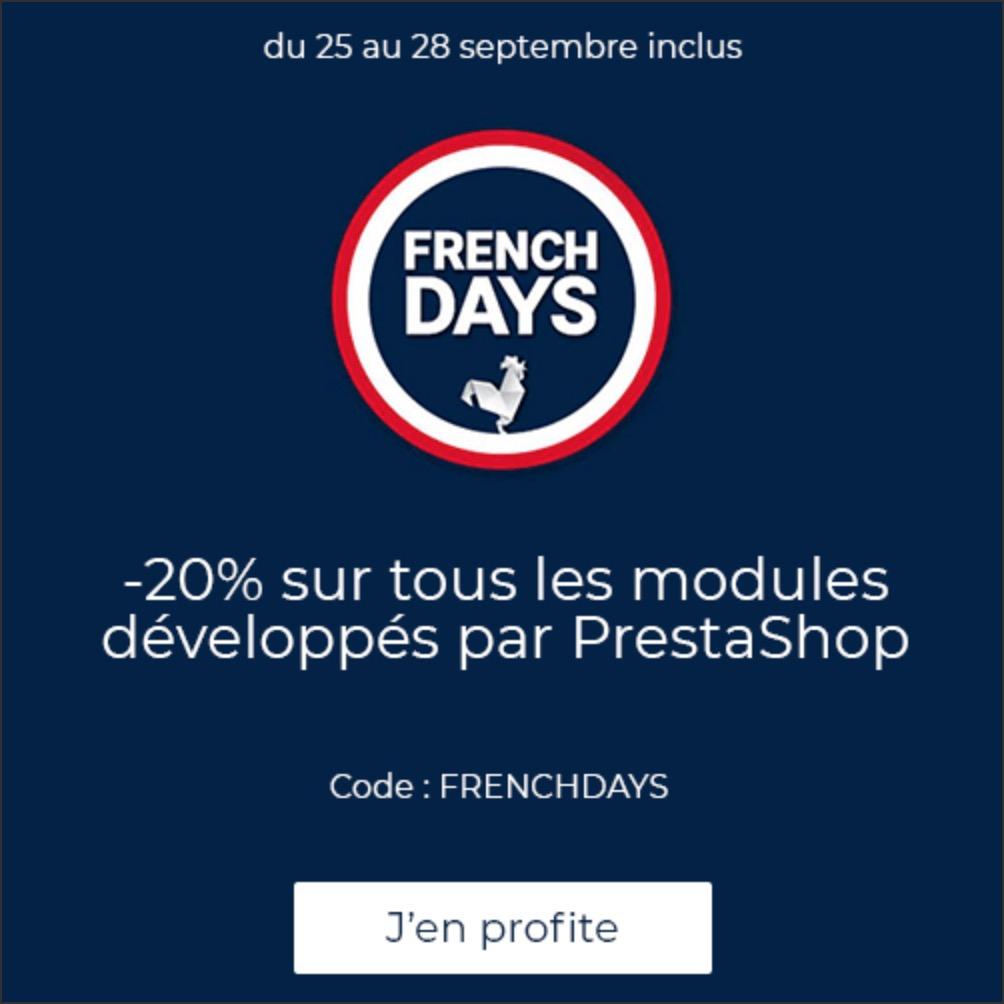 20% sur tous les modules développés par PrestaShop (prestashop.com)