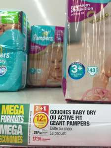 3 paquets de 43 couches Pampers Baby Dry ou Active Fit