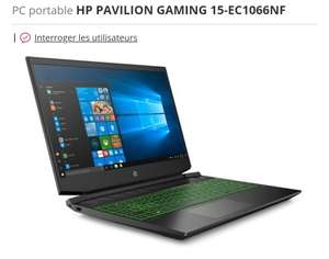 "PC Portable Gaming 15,6"" 15-3500 - Ryzen 5 4600H, 8 Go RAM, 512 Go SSD, GTX 1650 4 Go"