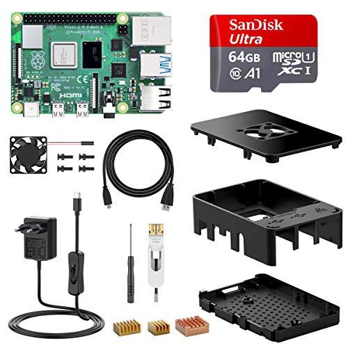 Kit Raspberry Pi 4 Modèle B 4 Go + Micro SD Sandisk 64 Go Classe 10 + Boîtier + Ventilateur + Interrupteur (Vendeur Tiers)