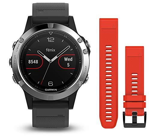 Montre multisport GPS Garmin Fenix 5 - Silver + Bracelet rouge