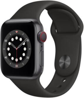 Sélection de montres connectées Apple Watch en promotion - Ex : Apple Watch Series 6 4G + GPS (40 mm, bracelet sport, noir)