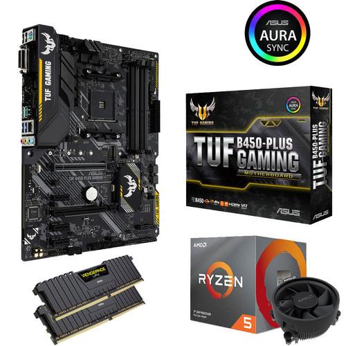 Kit Evo PC - Processeur AMD Ryzen 5 3600 (3.6GHz) + Carte-mère Asus TUF Gaming B450 Plus + 16 Go de RAM Corsair Vengeance LPX (2x8 Go)
