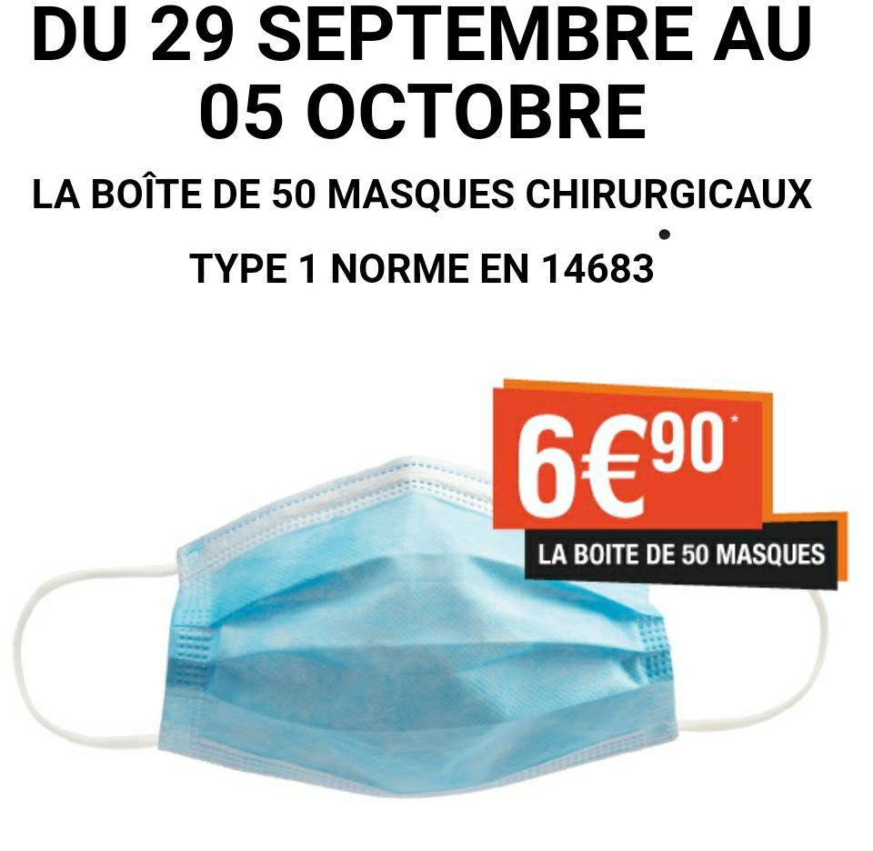 Boite de 50 masques chirurgicaux (Type 1) - Parapharmacie Lafayette Toulouse (31)