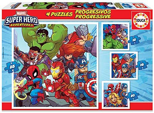 4 Puzzles progressifs Enfant Educa Marvel Super Heroe Adventures - 12/16/20/25 pièces