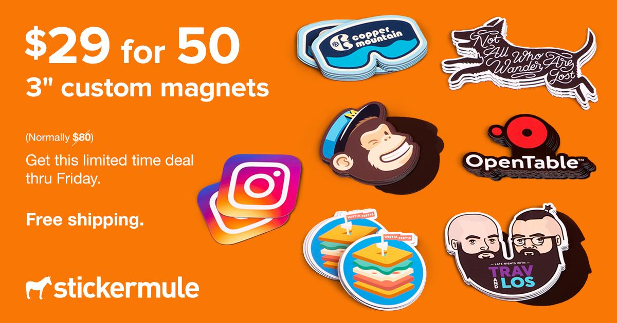 Lot de 50 magnets personnalisés - 76x76 mm