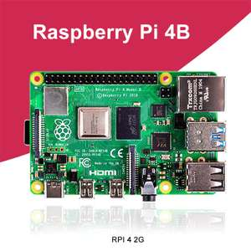 Mini-PC Raspberry Pi 4 modèle B - BCM2711, 2 Go de RAM, Bluetooth 5.0 / Wi-Fi