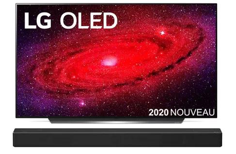 "TV OLED 55"" LG OLED55CX6 (4K UHD, 100 Hz, HDR10 Pro, Dolby Vision IQ & Atmos, Smart TV) + Barre de son LG SN7CY"
