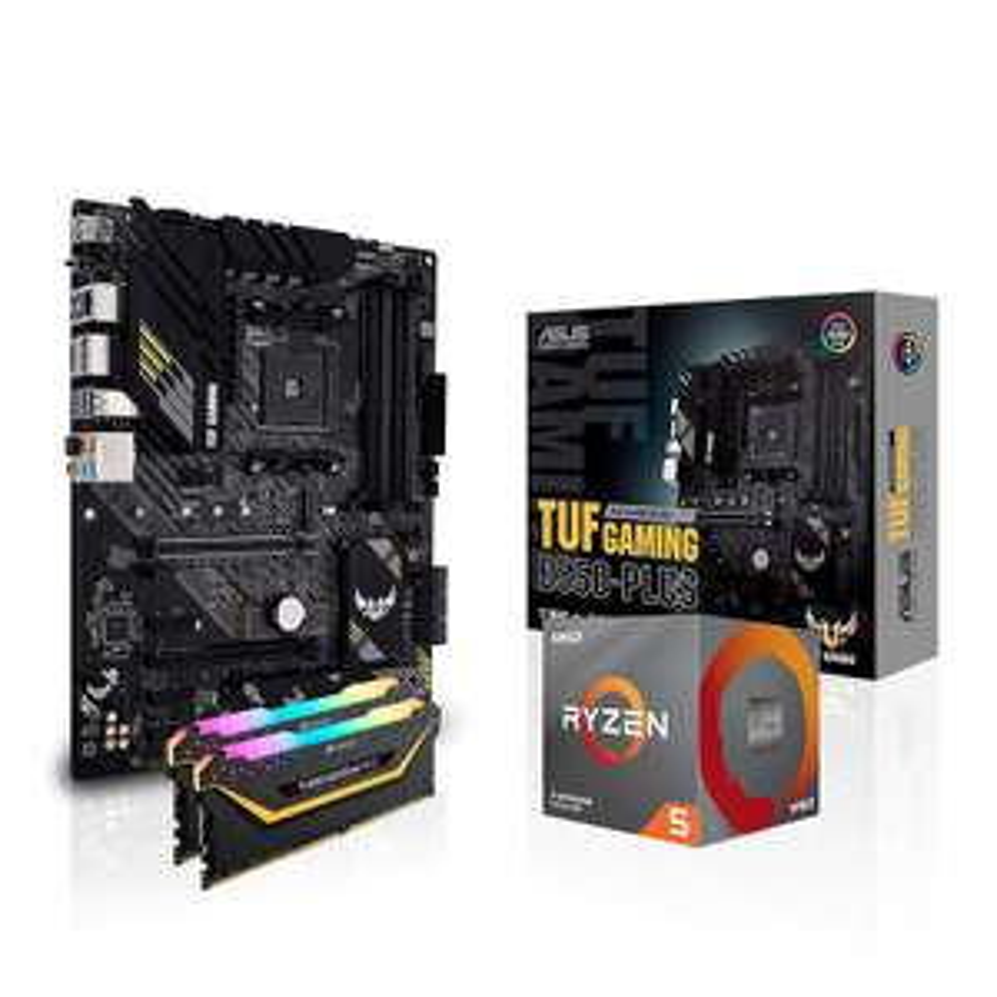 Processeur Ryzen 5 3600 + Carte mère Asus B550 Gaming Plus + Kit RAM Corsair Vengeance RGB Pro - 16 Go (2 x 8 Go), 3200MHz, CL16