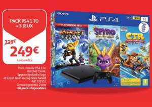 Console Sony PS4 Slim 1To + 3 Jeux : Ratchet & Clank, Spyro, Crash Team Racing (Frontaliers Luxembourg)