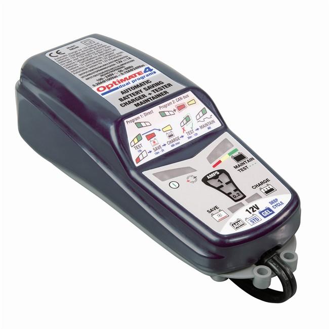 Chargeur de batterie moto Optimate 4 Tecmate - 12 V, 1 A, programmes STD / CAN Bus