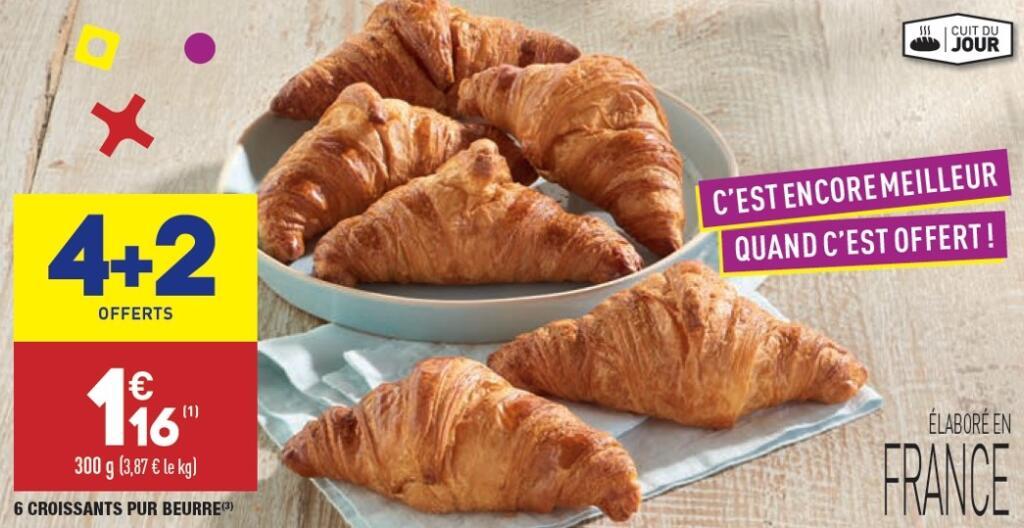 Lot de 6 croissants pur beurre - 300 g