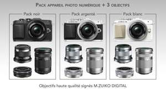 Appareil photo hybride Olympus Pen E-PL7 + 3 objectifs M. Zuiko Digital (45 mm 1:1.8 + 14-42 mm EZ + 40-150 mm)