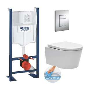 Pack WC Grohe Rapid SL autoportant + cuvette sans bride SAT + plaque Skate Air chrome