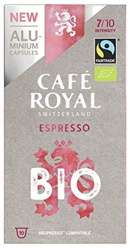100 Capsules Café Royal Espresso Bio/Organic en Aluminium compatibles Nespresso, Intensité: 7/10 (Lot de 10x 10)