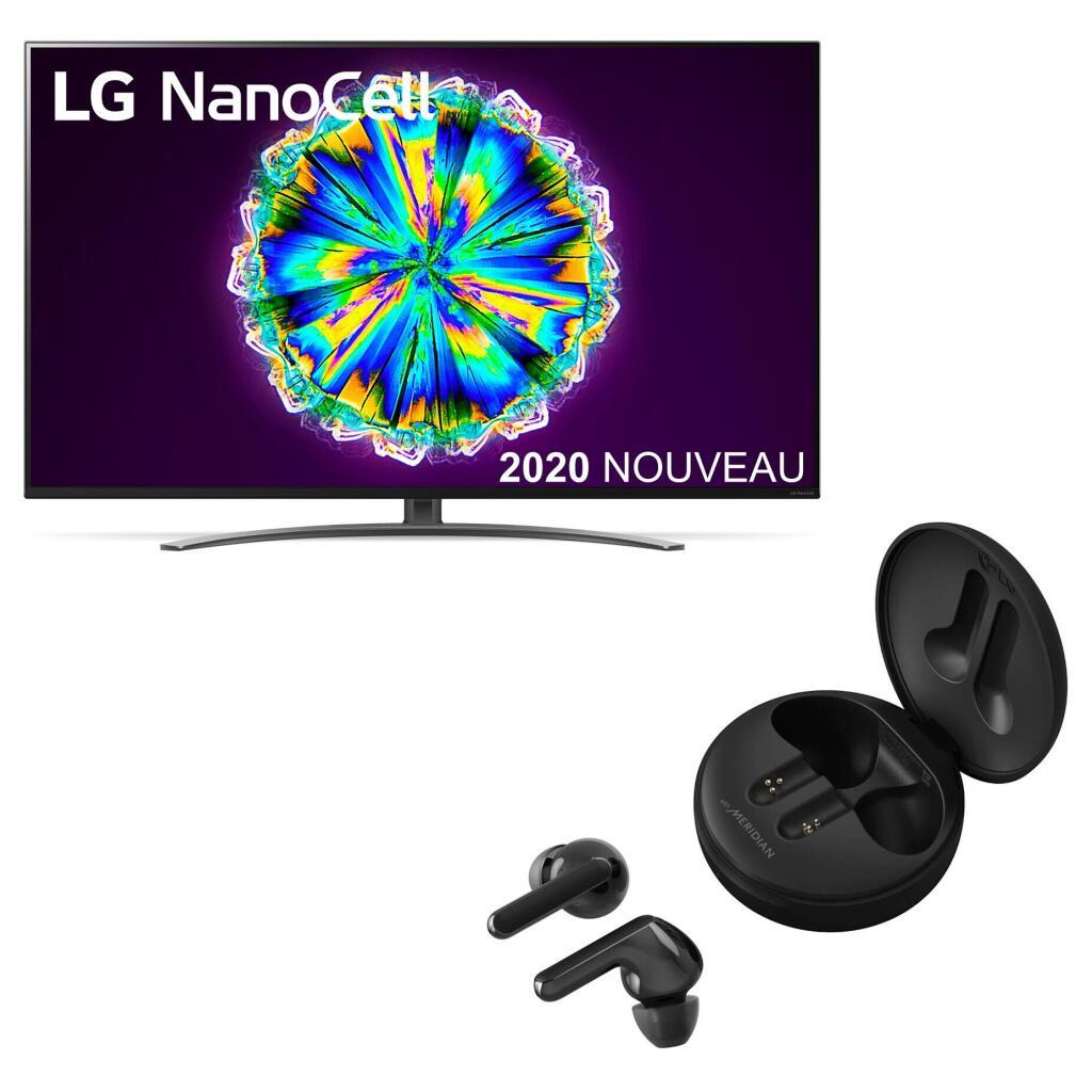 "TV 55"" LG 55NANO86 (2020) - NanoCell, IPS, 4K UHD, 100 Hz, HDR 10 Pro, Dolby Vision IQ, Smart TV + Ecouteurs bluetooth LG Tone Free HBS-FN6"