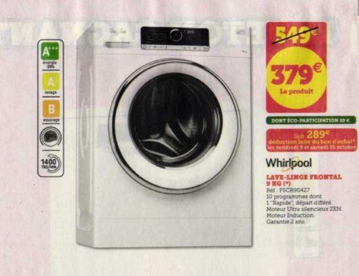 Lave-linge Whirlpool FSCR90427 - 9Kg (via 90€ en bon d'achat)