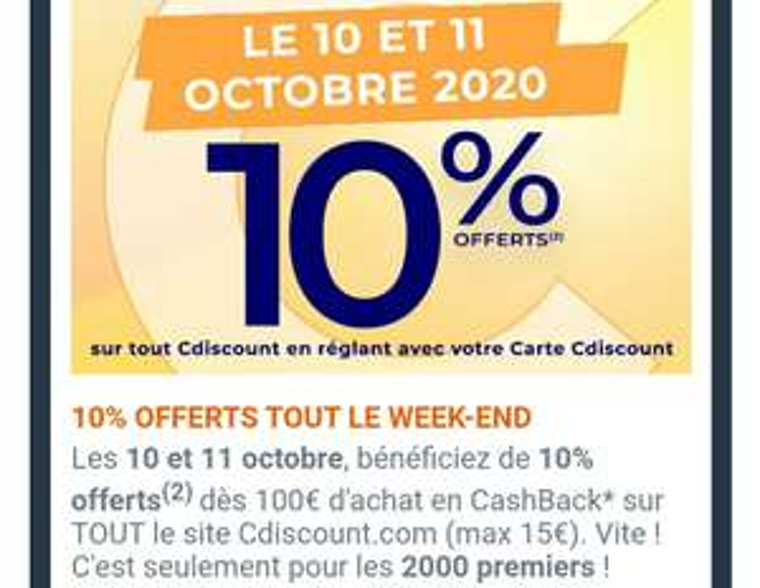 [Carte Cdiscount] 10% offerts en cashback sur tout le site Cdiscount dès 100€ d'achat en réglant avec la carte Cdiscount (max 15€)