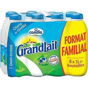 Pack de 8 bouteilles de 1 litre de lait UHT demi-écrémé Candia Grandlait - 8 x 1 L