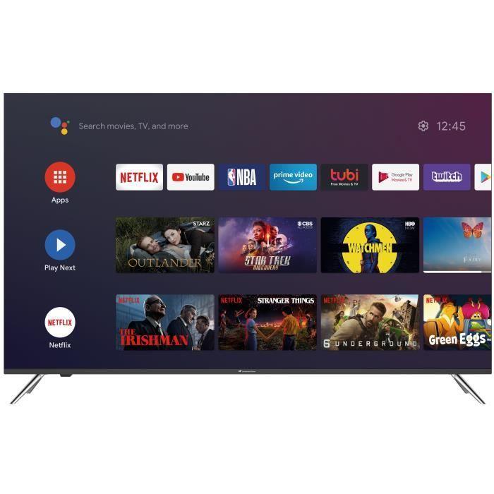 "TV 55"" Continental Edison - Android TV, QLED, 4K UHD"