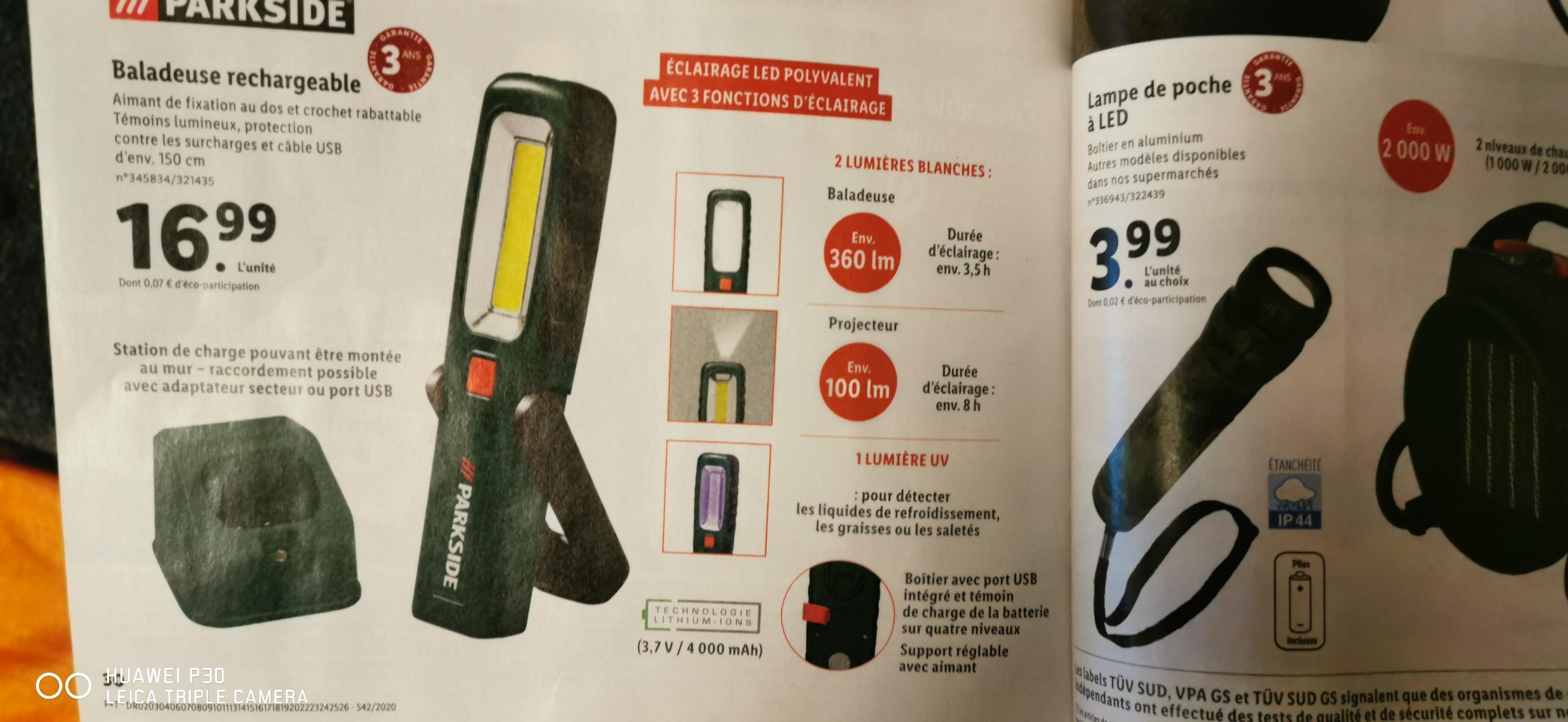 Sélection d'articles en promotion - Ex: Baladeuse rechargeable avec lumière UV Parkside - 360 lm