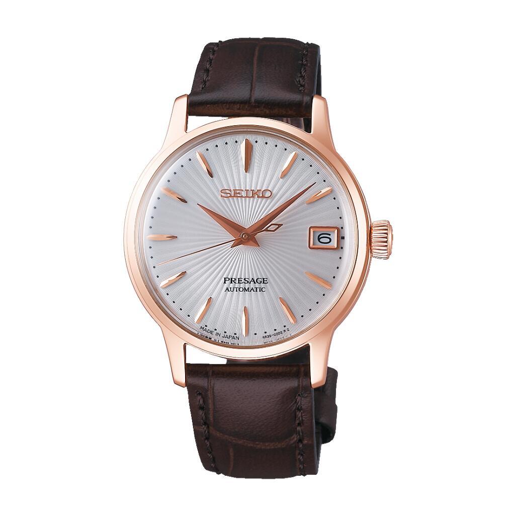 Montre automatique Seiko Presage Cocktail Bellini (SRP852J1) - bracelet en cuir marron - Tempka.com