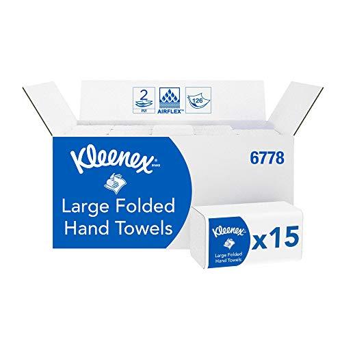 Lot de 15 paquets de 124 Essuie-mains pliés Larges Kleenex