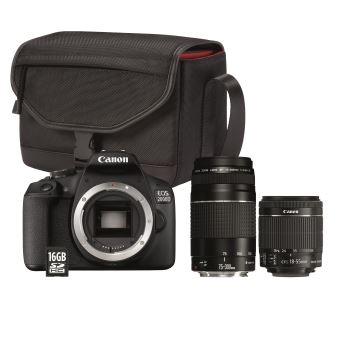 Appareil Photo Canon EOS 2000D + Objectifs: EF-S 18-55 mm f/3.5-5.6 IS II + EF 75-300 mm f/4-5.6 III + EF 50mm f/1.8 stm+Sac+Carte SD 16 Go