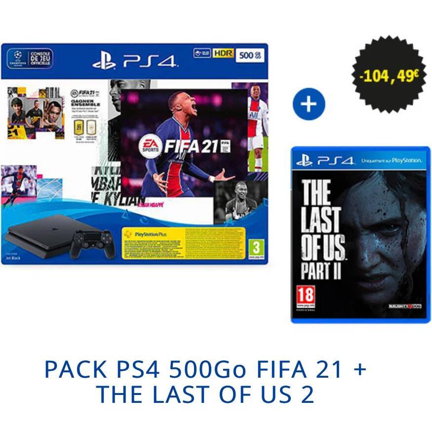 [Pré-commande] Pack console Sony PlayStation PS4 Slim (500 Go, noir) + FIFA 21 + pack FUT + Last of Us Part II