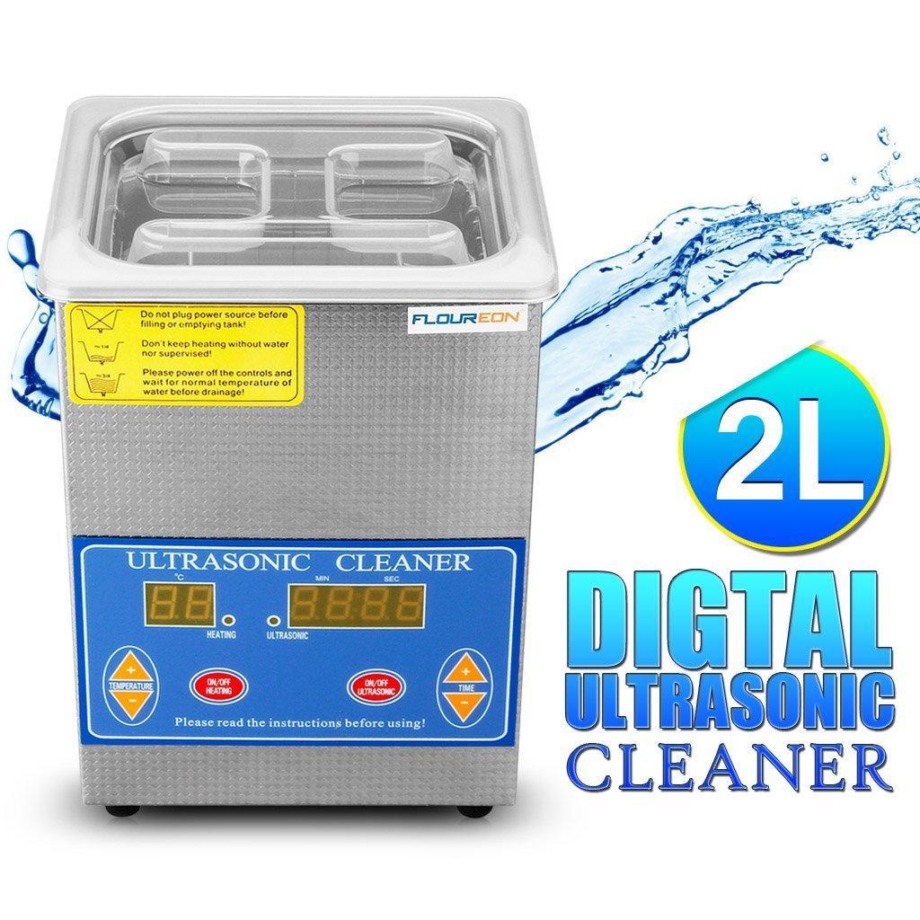 Nettoyeur à ultrasons affichage numérique Floureon 2L  - 40 KHz transducteur renforcé - température réglable