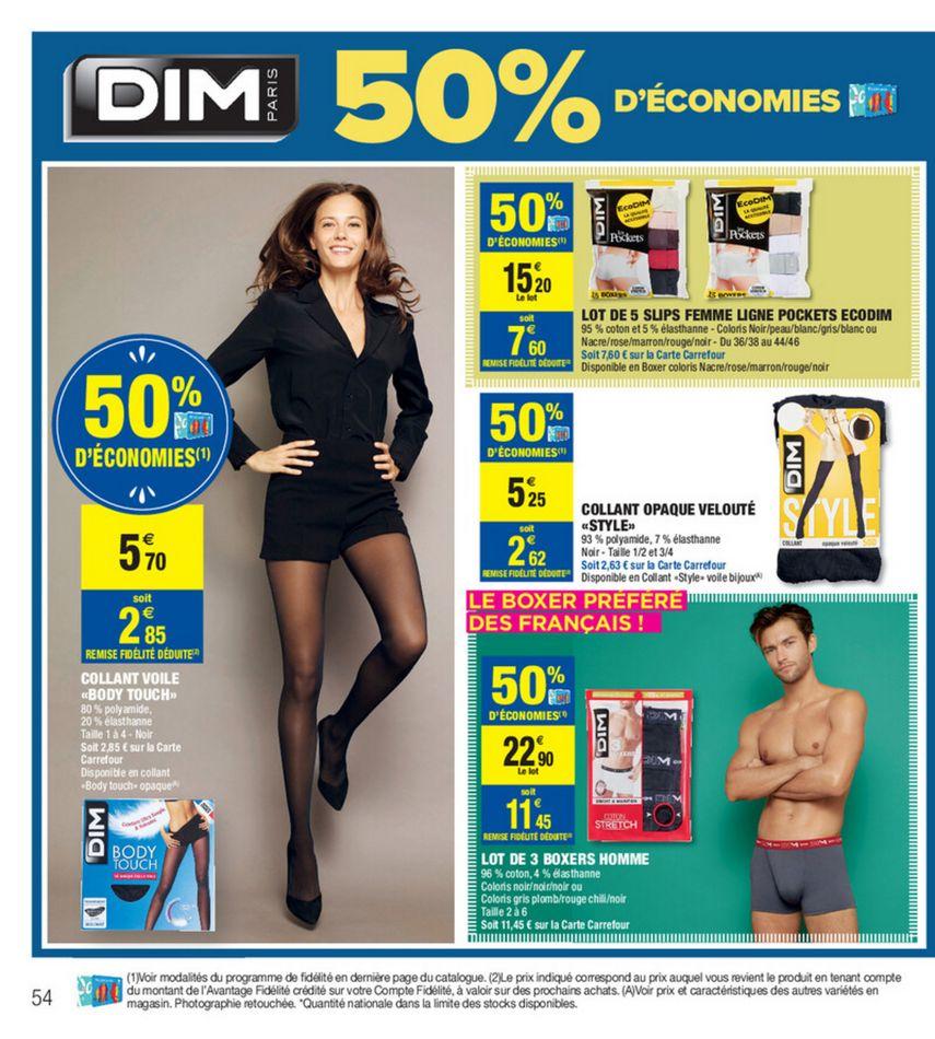 """Sélection de produits DIM gratuits - Ex : 2 collants opaques velouté """"Style"""" (via 5.25€ carte fidélité et 5.25€ ODR)"""